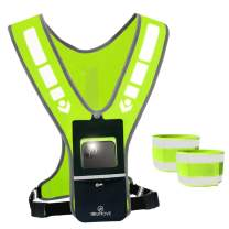 BUMOVE Safety Reflective Running Gear Vest Belt for Night Cycling, Walking, Hiking with Cell Phone Holder for Women Men Kids