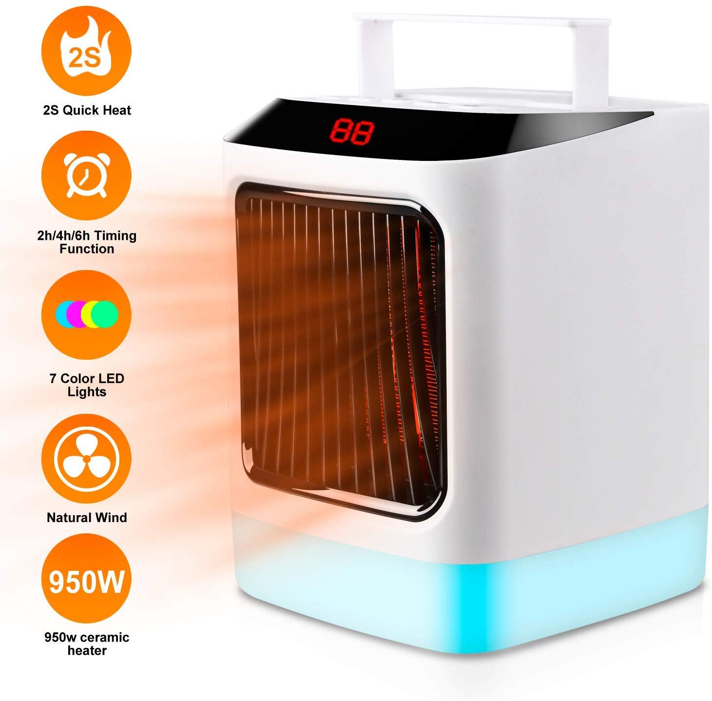 KKcite Electric Space Heater, Electric Mini Air Heater, PTC Ceramic Personal 950w Fan Heater with Over-heat & Tip-over Protection for Home and Office, with 7 Colorful Led Lights-White