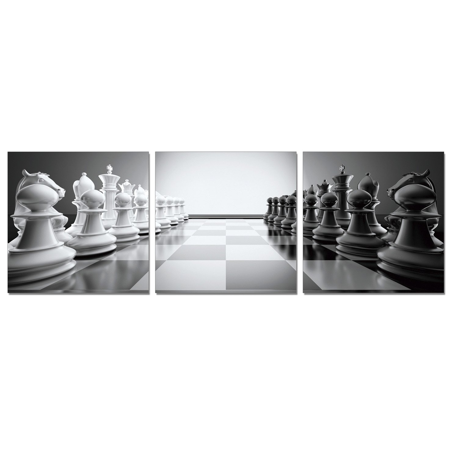 """FURINNO Photography Triptych Print, 72""""x24"""" MDF+XPS Frame, Chess"""