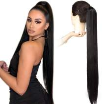 Fashion Icon Long Straight Drawstring Ponytail 30 Inch Synthetic Clip in Ponytail Extension for Women (1B#,170g)