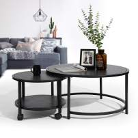 CozyCasa Black Coffee Table Round Small Tea Table Nesting Tables Set of 2 with Wheels for Living Room