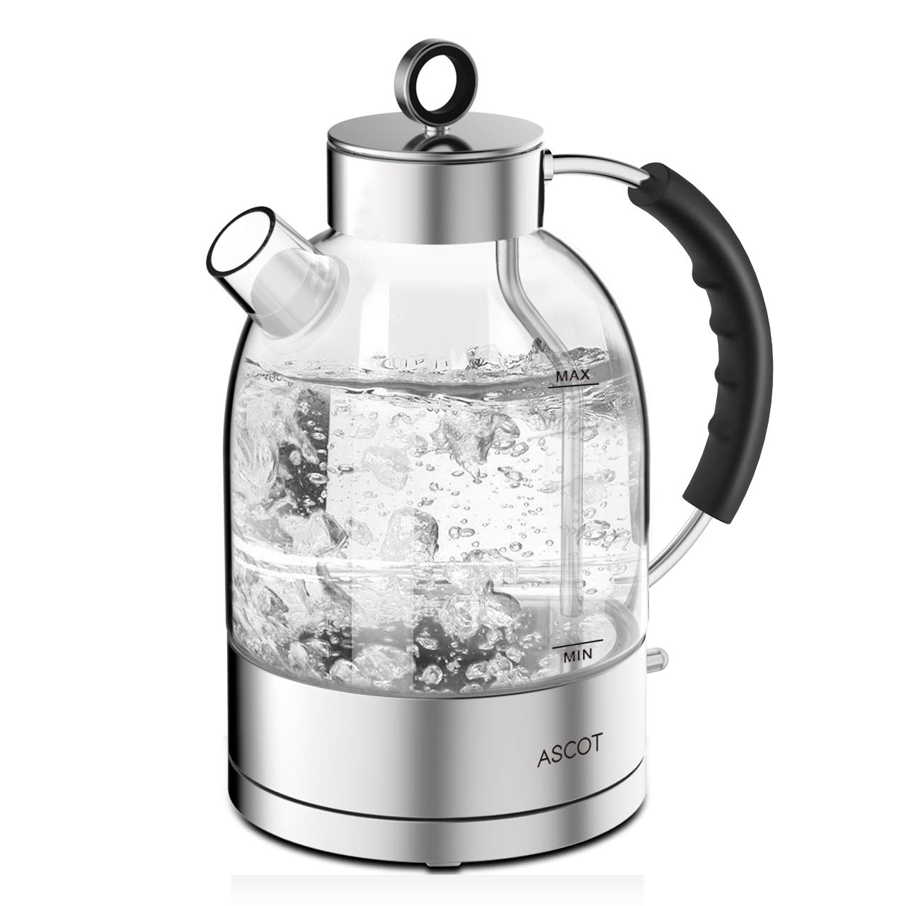 Kettles-Electric-Glass-Water-Kettle, ASCOT Tea Heater & Hot Water Boiler, 1.7QT, 1500W, Stainless Steel, BPA-Free, Cordless, Automatic Shutoff, Boil-Dry Protection