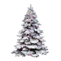 "Vickerman 36"" Flocked Alaskan Pine Artificial Christmas Tree with 100 Multi-colored lights"
