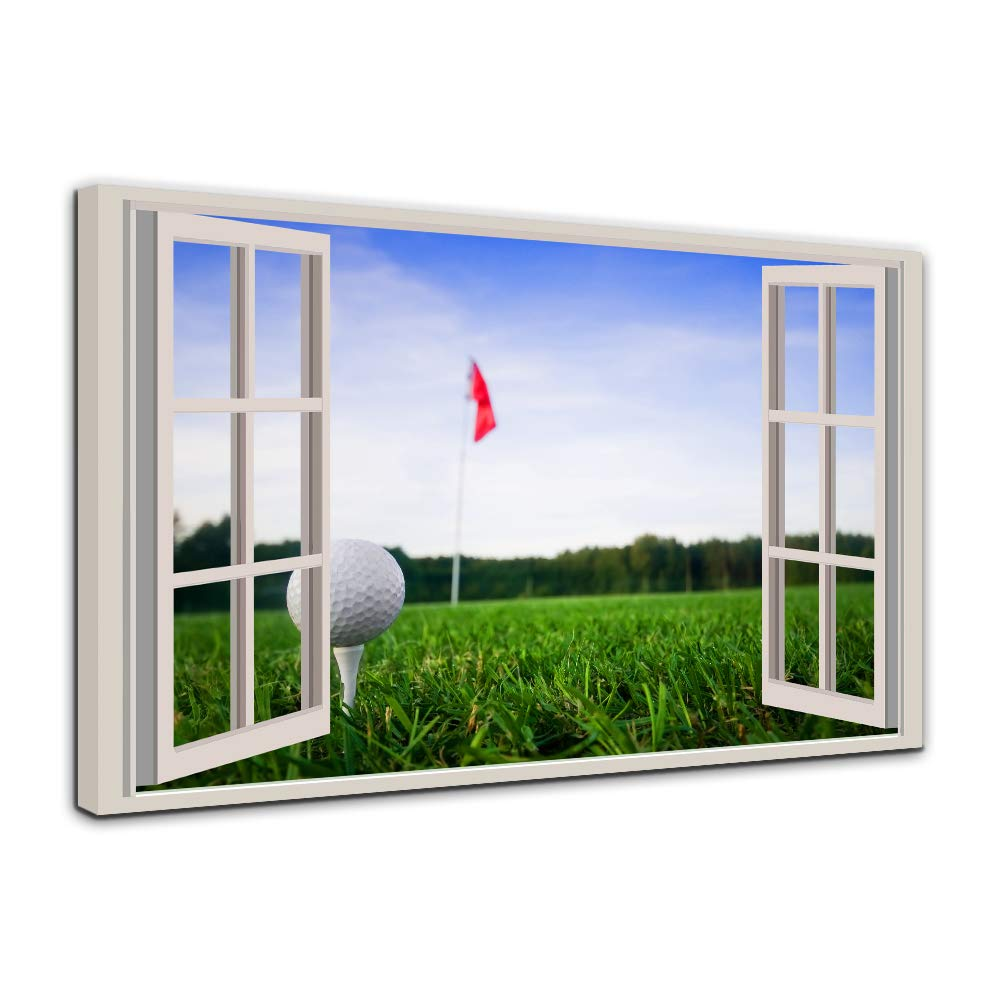 AMEMNY Modern Home Decor Wall Art Framed Poster HD Printed Painting 1 Piece Open Window Golf Course Green Landscape Canvas Pictures