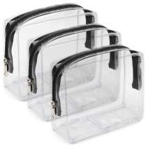 Clear Toiletry Bag, iSPECLE 3 Pack PVC Clear Cosmetic Bag TSA Approved Travel Luggage Pouch Carry On Clear Airport Compliant Bag Travel Makeup Bags Black