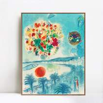 """INVIN ART Framed Canvas Giclee Print Art Flower and Sun by Marc Chagall Wall Art(Wood Color Slim Frame,24""""x32"""")"""