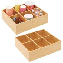 mDesign Bamboo Pantry Storage Organizer Tea Box - 6 Divided Sections Decorative Holder for Tea Bags, Packets, Small Items - 2 Pack - Natural Wood