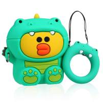 Joyleop Green Dinosaur Duck Case Compatible with Airpods 1/2, Cute Cartoon Fun Funny 3D Animal Kids Girls Teens Cover, Kawaii Stylish Fashion Soft Silicone Character Airpod Skin Cases for Air pods 1&2