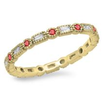 Dazzlingrock Collection 14K Gold Round & Baguette Ruby & White Diamond Ladies Vintage Wedding Eternity Band Stackable Ring