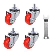 [T-REX CASTER] Easy Install, 3inch Heavy Duty Casters, All Swivel 1/2-13UNC1 Stem Caster with Polyurethane Wheels. Load Capacity - 750 Lbs Per Caster (Pack of 4) Unversal Fit. T503S-2(RED) LN