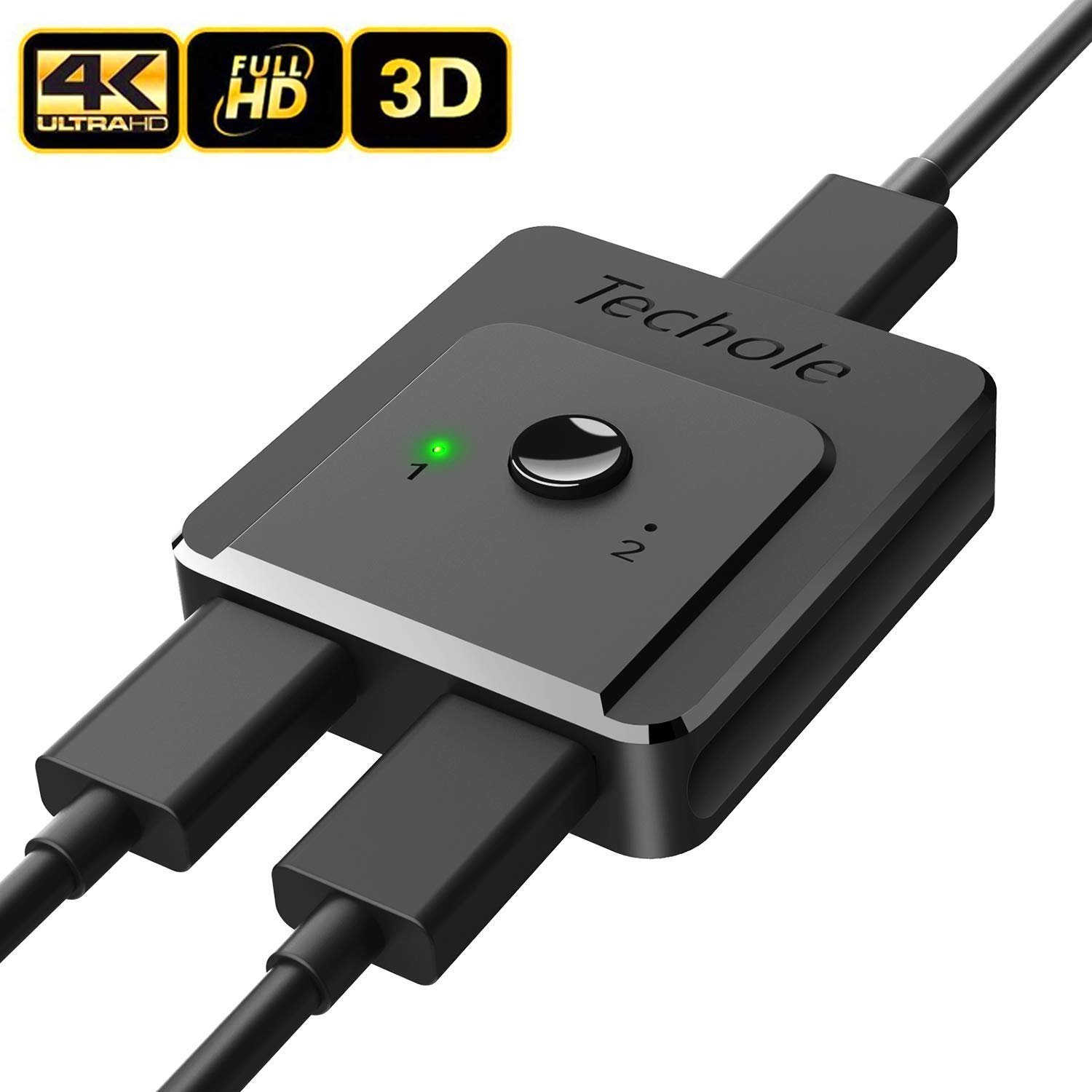 HDMI Switch 4K HDMI Splitter-Techole Updated Bi-Directional HDMI Switcher 1 in 2 Out or 2 in 1, HDMI Switch Splitter Supports 4K 3D HD 1080P for Xbox PS4 Fire Stick Roku HDTV(HDMI Cable NOT Include)