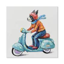 JAPO ART - Animal Colorful and Cute Dog 100% Hand Painted Oil Painting with Stretched Frame Wall Art for home decor (Dog Riding Blue Motorcycle, 32 x 32 Inch)
