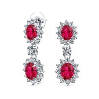 Red Crown Halo Oval Cubic Zirconia CZ Prom Statement Dangle Earrings For Women Simulated Ruby Silver Plated Brass