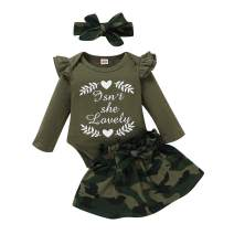 Toddler Baby Girls Clothes Outfit Cotton Ruffle Long Sleeve Shirts Tops with Plaid Suspender Skirt Girl Overall Outfit Set