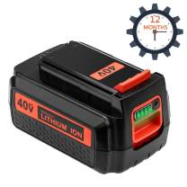 Replace for Black and Decker 40V Battery Lithium 2.5Ah Max LBX2040 LBXR2036 LBX2036 LBXR36 LBX36 LBX2040 LBX2540 LST540 LCS1240 LBX1540 LST136W 40 Volt Battery