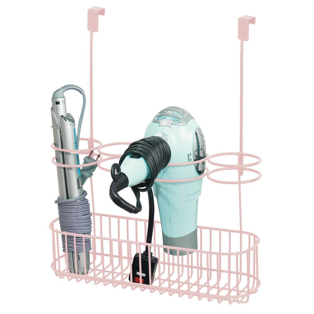 mDesign Metal Over Door Bathroom Hair Care & Styling Tool Organizer Storage Basket for Hair Dryer, Flat Irons, Curling Wands, Hair Straighteners - Hang Inside/Outside Cabinet Doors, Light Pink Blush