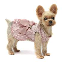 Fitwarm Embroidery Dog Dresses Pet Clothes Prom Dress Cat Party Gown Pink
