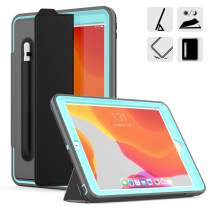 DUNNO New 10.2 Case 2019, Hybrid Leather Three Layer Heavy Duty Smart Cover with Auto Sleep/Wake Pencil Holder Stand Feature Design for iPad 7th Gen 10.2 Inch 2019 (Gray/Light Blue)