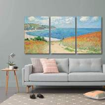 """wall26 3 Panel World Famous Painting Reproduction on Canvas Wall Art - Path Through The Corn at Pourville by Claude Monet - Modern Home Decor Ready to Hang - 16""""x24"""" x 3 Panels"""