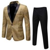 Cloudstyle Mens 2 Piece Print Dress Suit 1 Button Slim Fit Formal Dinner Tuxedo Jacket Pants