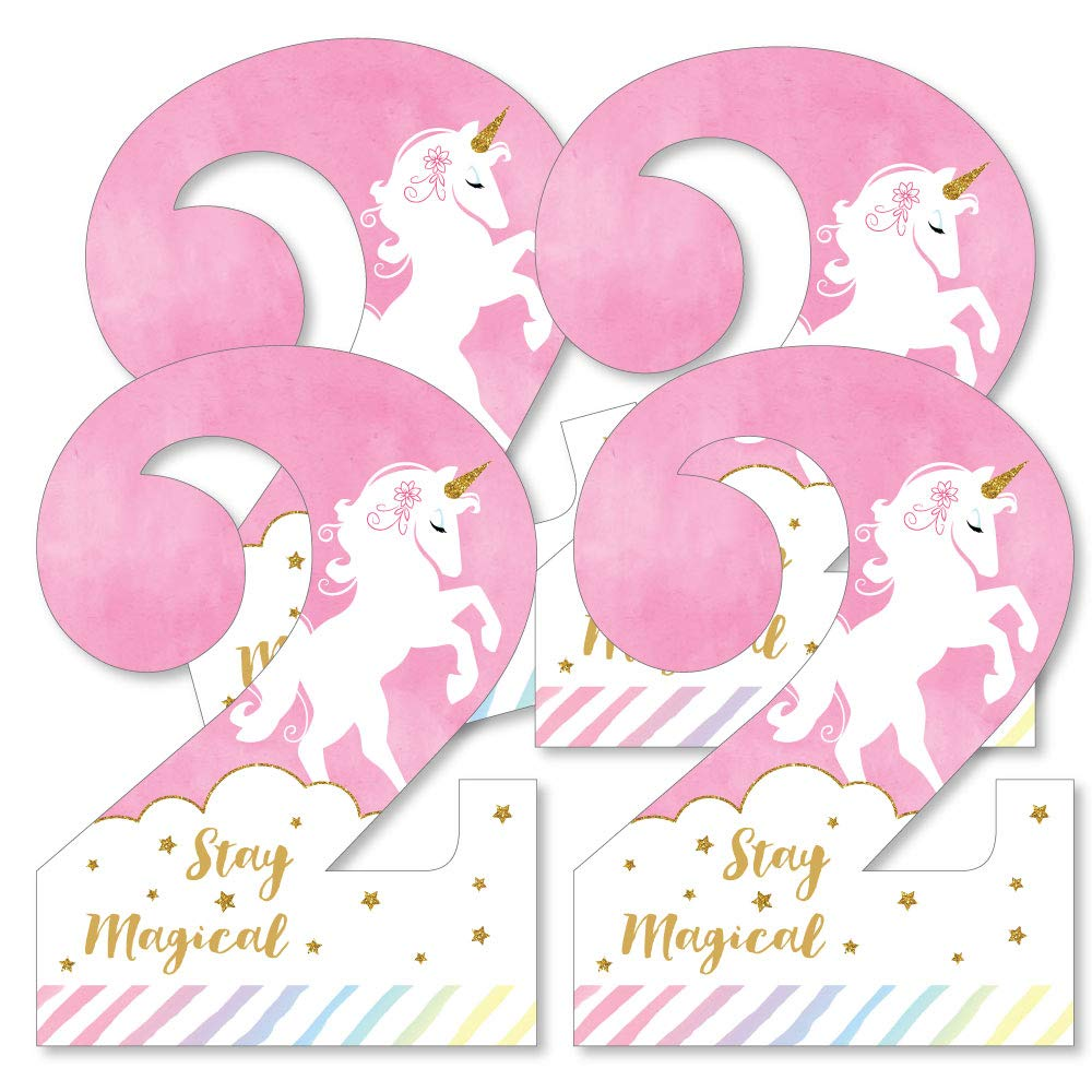 2nd Birthday Rainbow Unicorn - Two Shaped Decorations DIY Magical Unicorn Second Birthday Party Essentials - Set of 20