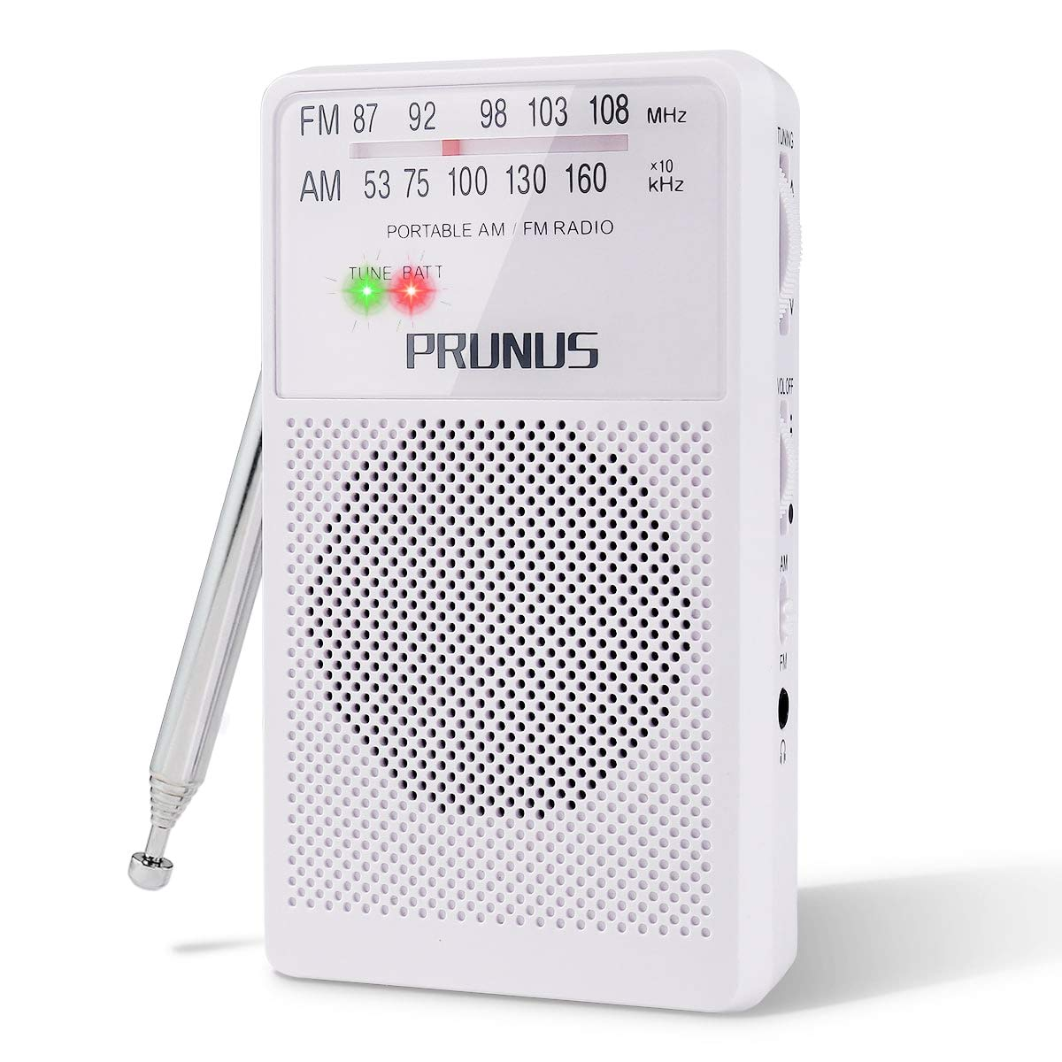 ANJAN-A166 AM/FM Portable Radio, Small Transistor Radio with Ultra-Long Copper Antenna, Excellent Reception, Tuning Knob with Signal Indicator, Supports Replaceable Battery (AA) (White), by PRUNUS