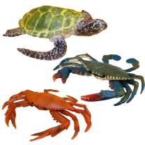 Fantarea 3 PCS Ocean Sea Marine Animal Model Figures Crab Turtle Party Favors Supplies Cake Toppers Set Toys for 5 6 7 8 Years Old Boys Girls Kid Toddlers