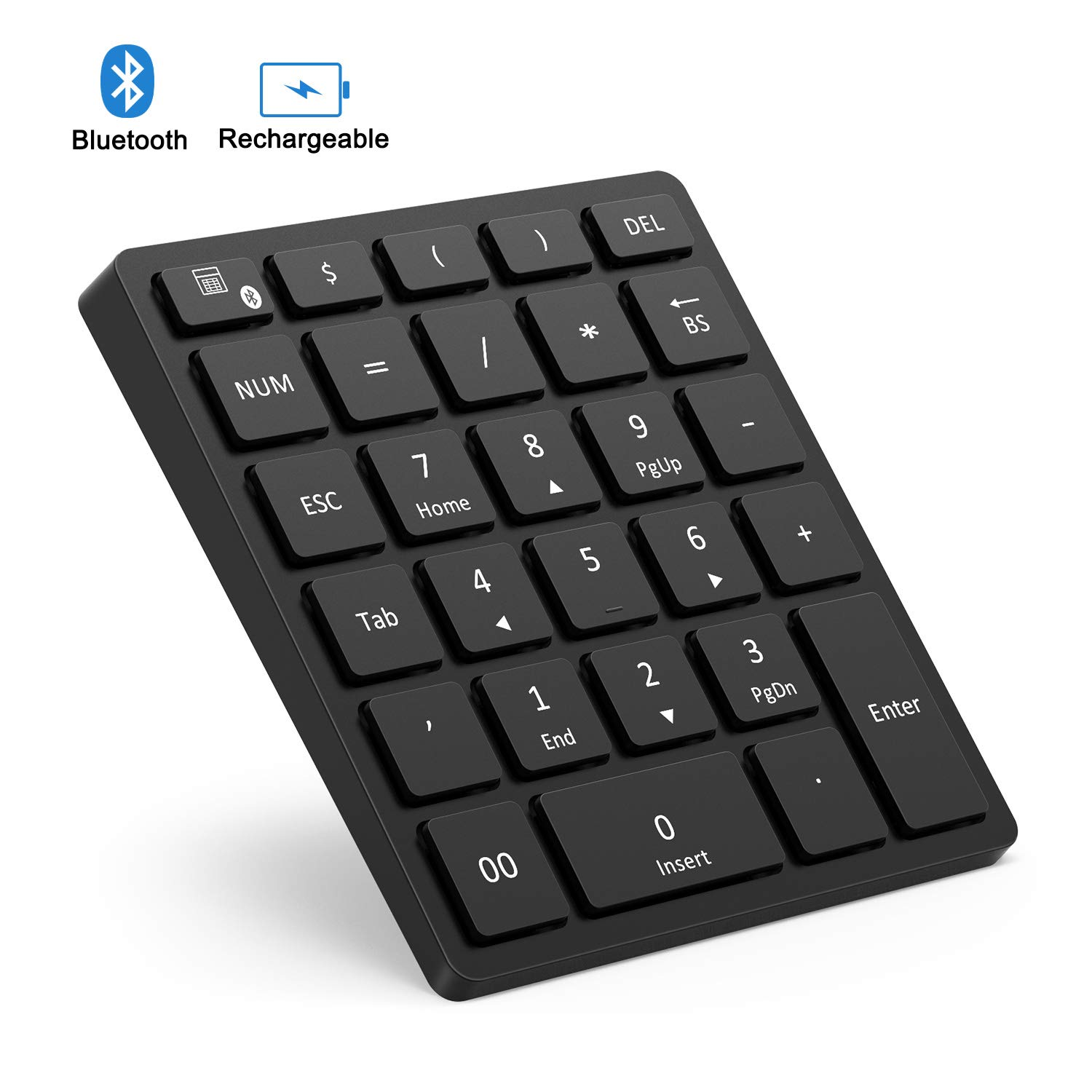 Bluetooth Numeric Keypad Rechargeable, Jelly Comb Portable Wireless Bluetooth 28-Key Number Pad with Multiple Shortcuts for Tablet, Laptop, Notebook, PC, Desktop and More (Black)