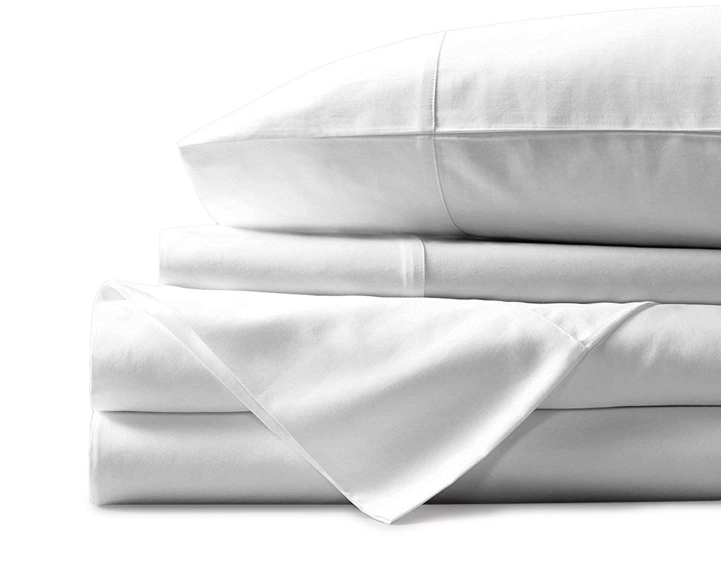 500 Thread Count 100% Cotton Sheet White Full Sheets Set, 4-Piece Long-staple Combed Pure Cotton Best Sheets For Bed, Breathable, Soft & Silky Sateen Weave Fits Mattress Upto 18'' Deep Pocket