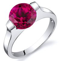 Created Ruby Bezel Ring Sterling Silver Rhodium Nickel Finish 2.50 Carats Sizes 5 to 9