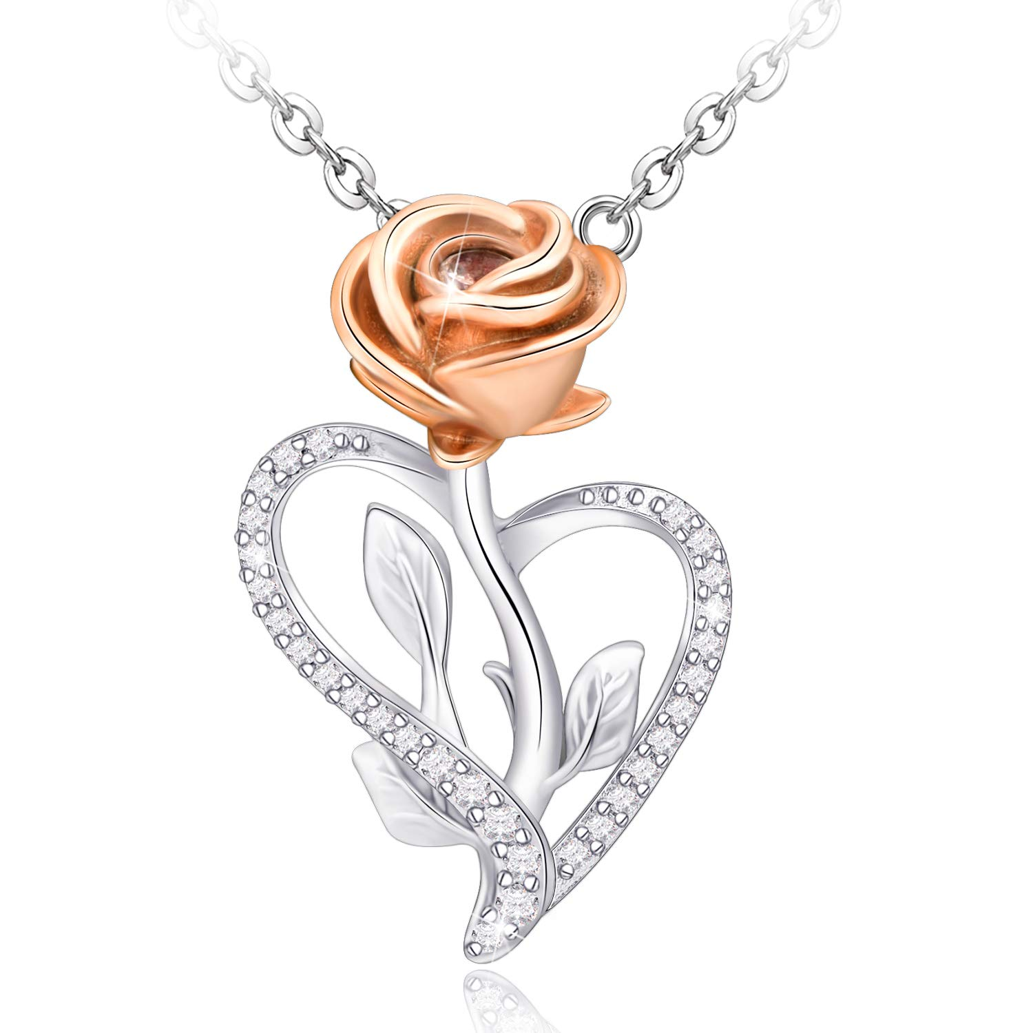 Distance Necklace for Women S925 Sterling Silver Rose Flower Heart Necklace Jewelry Gifts for Women Mom Wife