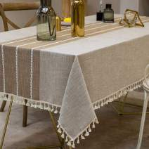 Vedouci Tassel Tablecloth Rectangle Table Cloth Cotton Linen Wrinkle Free Anti-Fading Tablecloths Washable Dust-Proof Table Cover for Kitchen Dinning Party(Oblong, 55''x102'',8-10 Seats, Light Coffee)