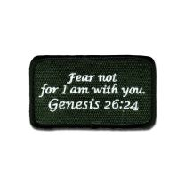 BASTION Morale Patches (Genesis 26:24, Colors) | 3D Embroidered Patches with Hook & Loop Fastener Backing | Well-Made Clean Stitching | Christian Patches Ideal for Tactical Bag, Hats & Vest (Tan) (Green)