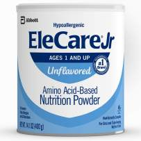 EleCare Jr Nutrition Powder, Complete Nutrition for Children Age 1 and Older with Severe Food Allergies, Amino Acid-Based Nutrition Powder, Unflavored, 14.1 oz, 6 Count