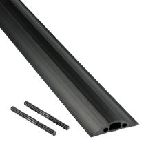 D-Line FC68B/9M Medium Duty Linkable Cable Protector/Floor Cable Cover, 14x9mm cable cavity, 1.8m & 9m length, black