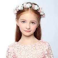 Aukmla Wedding Bridal Flower Crown Floral Headpiece Flower Girl Headband Garland Halo for Women and Girls (Light Pink)