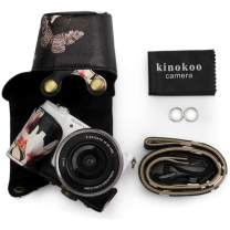 kinokoo PU Leather Camera Case Flowers Pattern Tailored for Sony A5000 A5100 NEX-3N and Specialized for 16-50mm Lens(Black)
