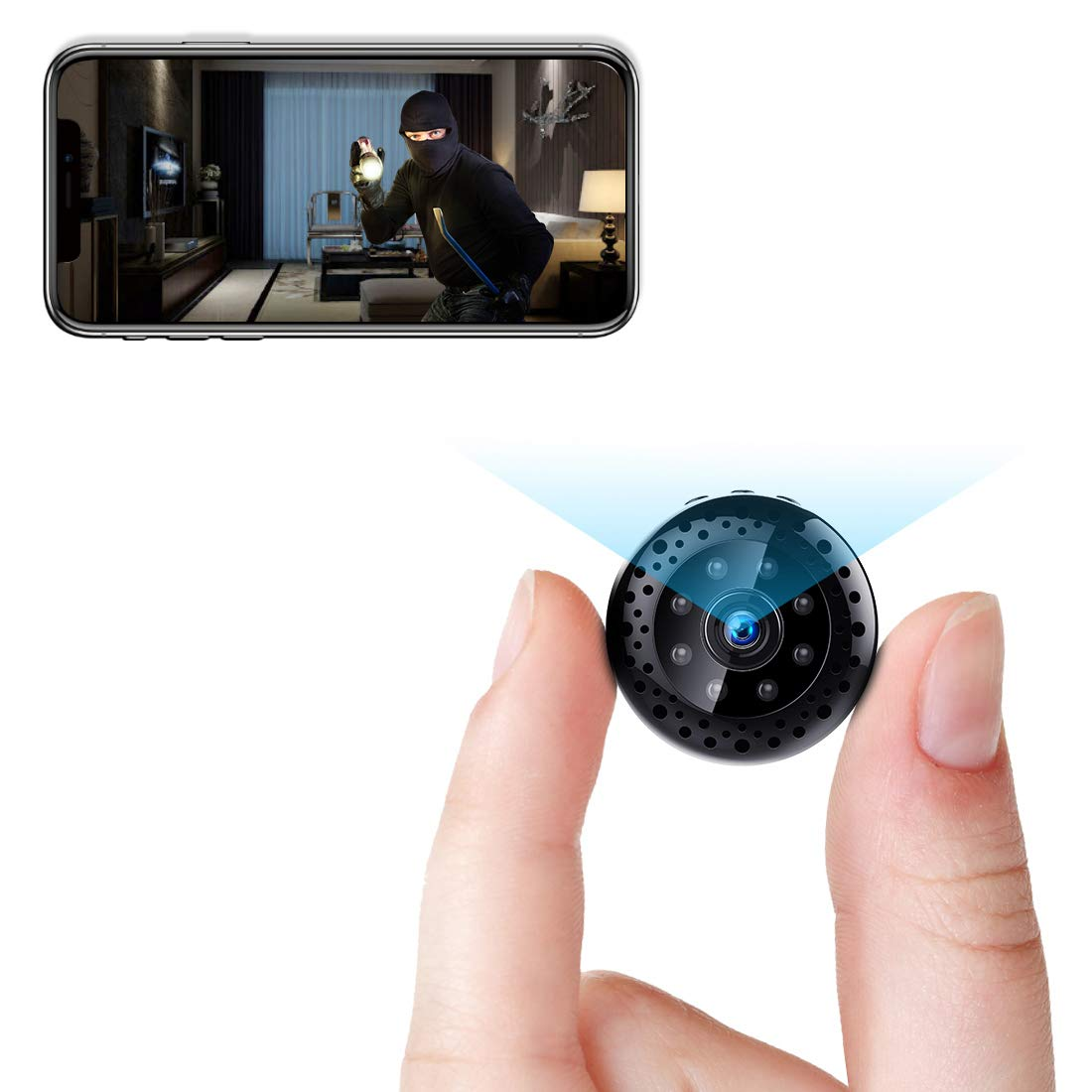 Mini WiFi Camera Wireless Security Nanny Cam 1080P Surveillance Cameras Tiny Video Recorder with Phone App Live Feed, Night Vision, Motion Detection for Car Indoor Outdoor