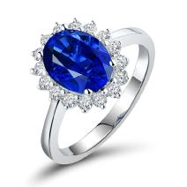 Lanmi 14K Yellow White Gold Natural Blue Sapphire Rings Diamond Engagement for Women