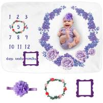 SUNVITO Baby Milestone Blanket for Girl, 1 to 12 Months, Extra Soft Monthly Blanket for Baby Pictures, Includes Premium Floral Wreath & Headband