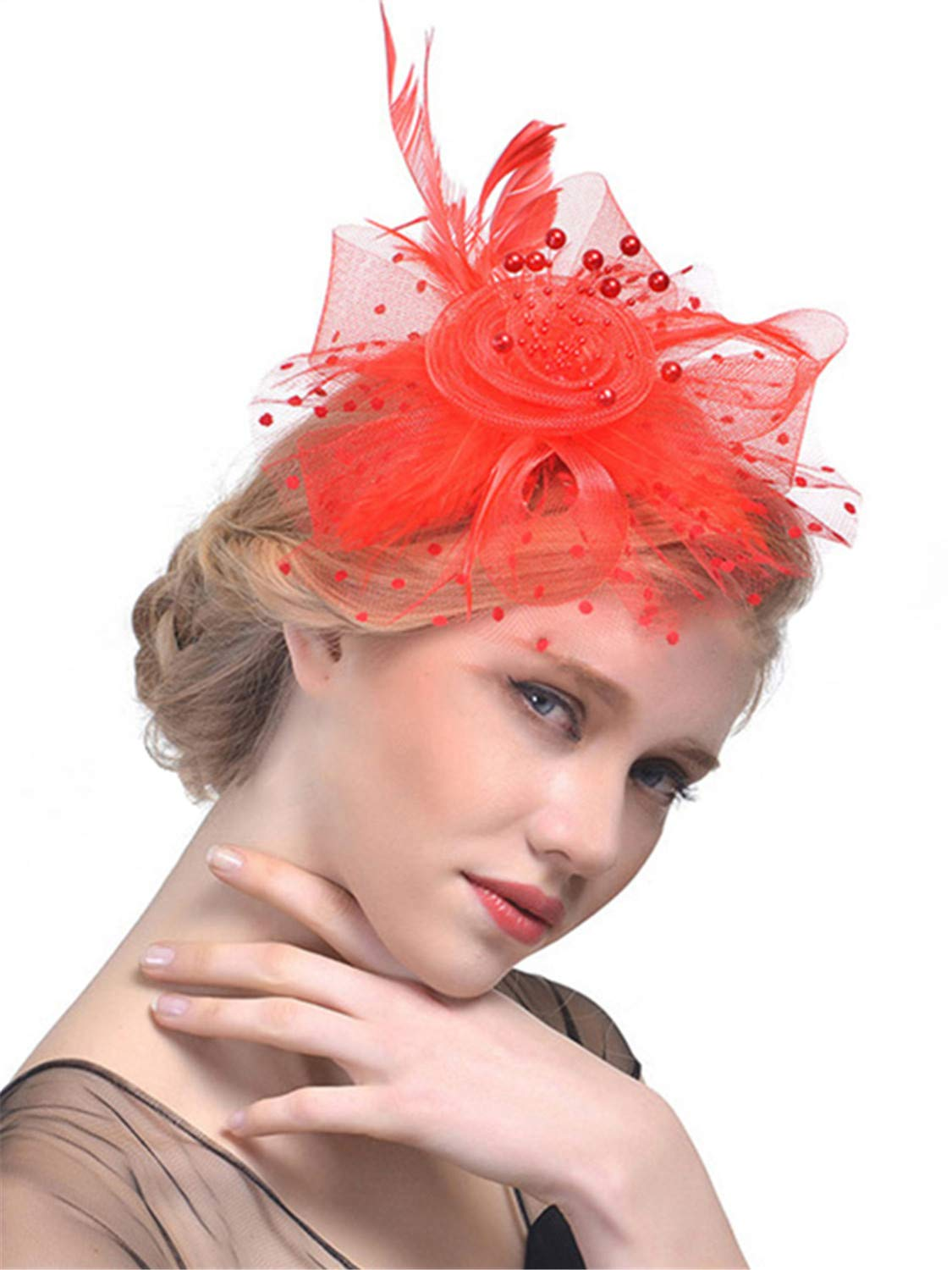 Fascinators Hat for Women Tea Party Headband Flower Mesh Feathers Kentucky Derby Hair Clip Hat for Wedding Cocktail