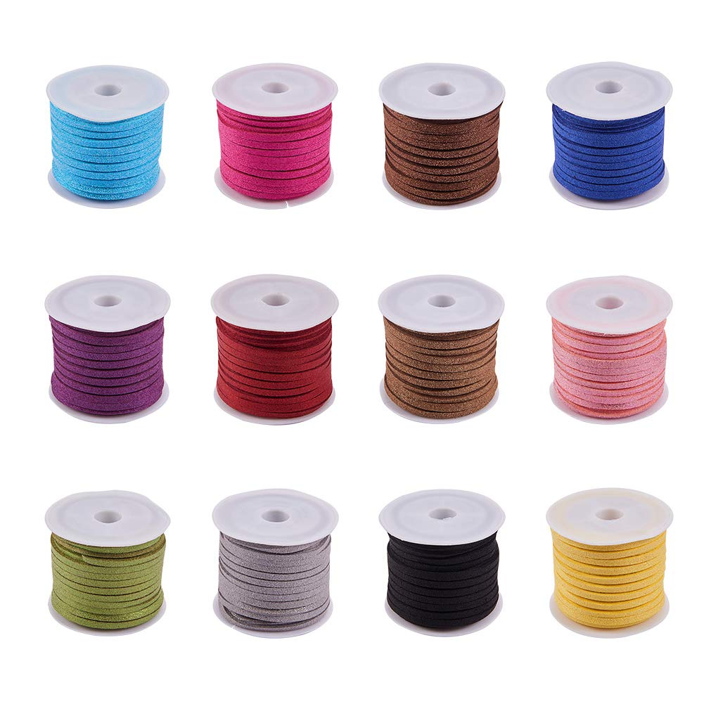 PandaHall Elite 12 Rolls 3mm Flat Micro Fiber Faux Leather Suede Cords Lace Velvet Beading String Glitter Powder 5.5 Yard per Pack Jewelry Making 12 Colors