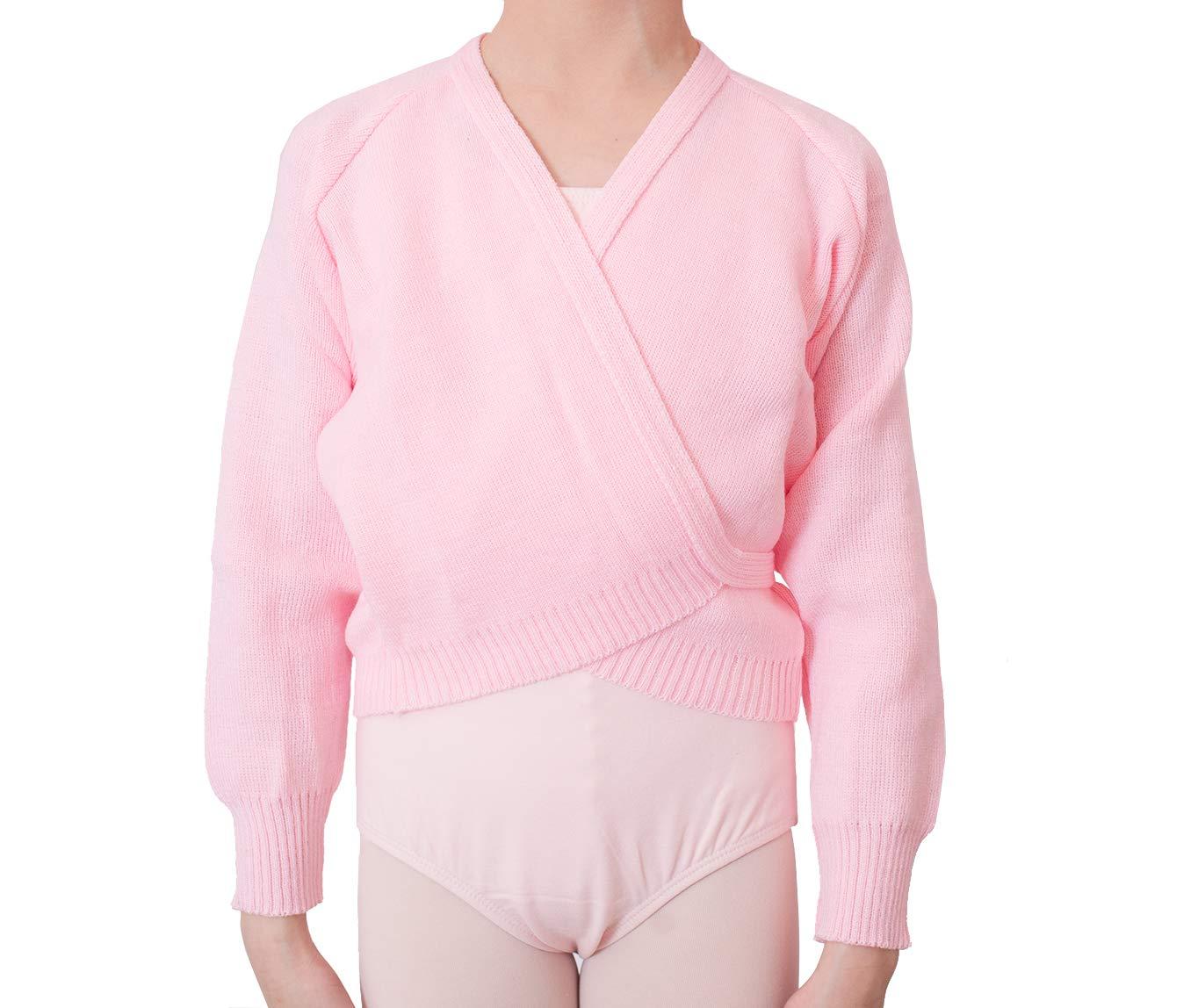 DANCEYOU Girls' Ballet Knit Wrap Sweater Dance Cardigan Long Sleeve Tops Self Tie