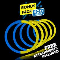 Lumistick 8 Inch 500 Glow Sticks Bulk Party Favors with Connectors | Light Sticks Neon Party Glow Necklaces and Glow Bracelets | Glow in The Dark Party Supplies (Blue/Yellow, 500 Glow Sticks)