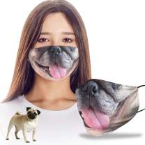 VTH Global Funny 3D Pug Dog Mom Dad Reusable Washable Face Mask Women Men for Dust Protection