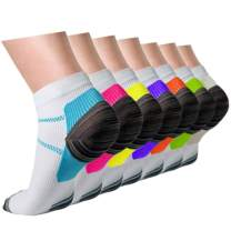 Compression Socks Plantar Fasciitis for Women Men (3/5/7 Pack), 8-15 mmhg Athletic Sock Arch Support Flight Travel Nurses