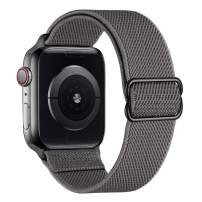 SIRUIBO Stretchy Nylon Solo Loop Bands Compatible with Apple Watch 42mm 44mm, Adjustable Stretch Braided Sport Elastics Velcro Women Men Strap Compatible with iWatch Series 6/5/4/3/2/1 SE, Darkgray