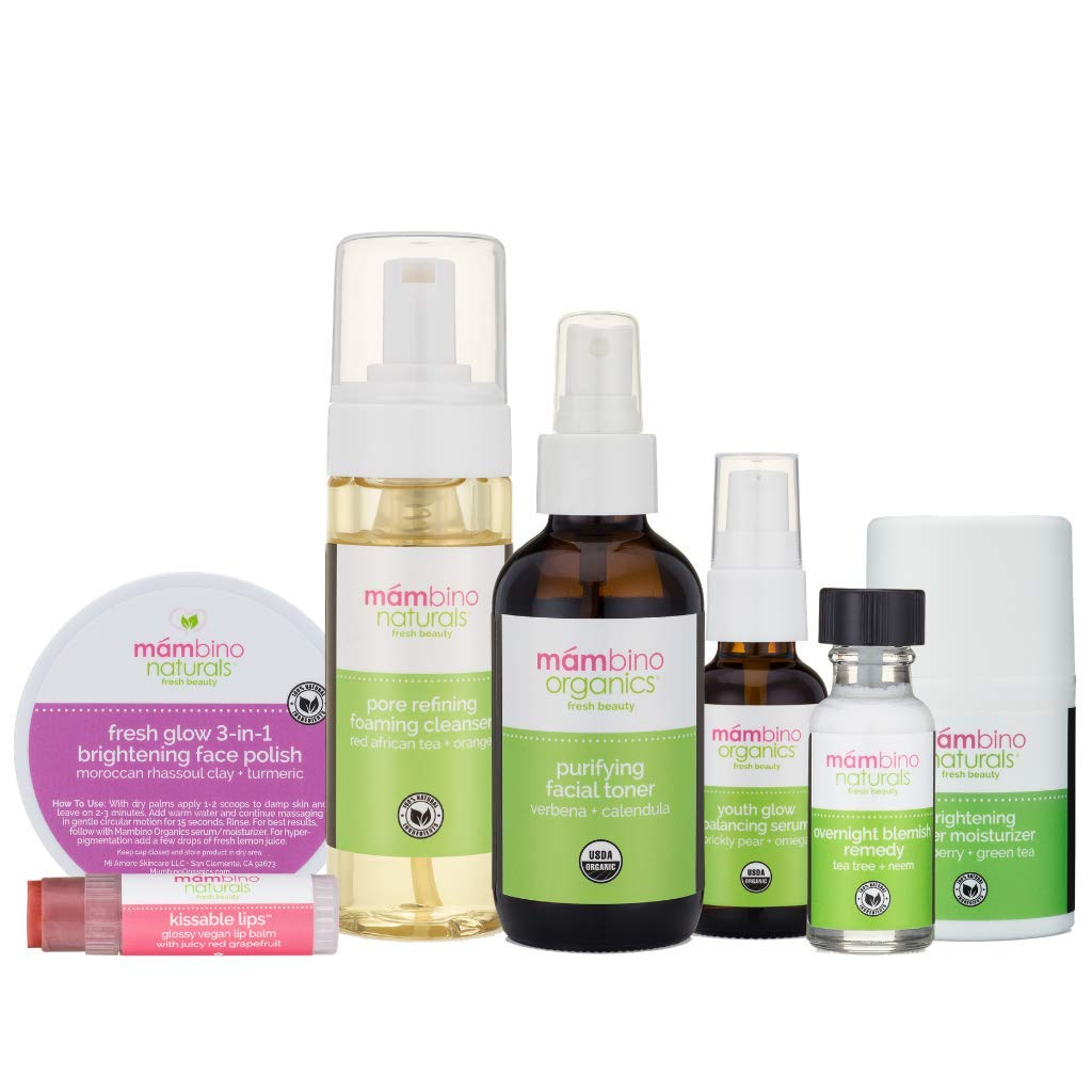 Mambino Organics Fresh Face Set - Blemish Prone Skin, Blemish Remedy, Scrub, Cleanser, Toner, Moisturizer, Serum, Lip Balm