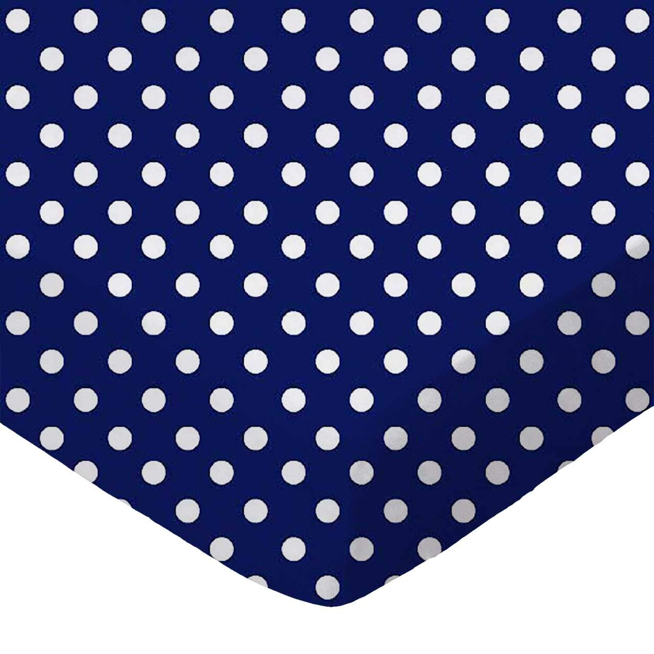 SheetWorld Fitted Basket Sheet - Primary Polka Dots Navy Woven - Made In USA