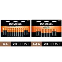 Duracell - CopperTop AA Alkaline Batteries - long lasting - 20 Count with CopperTop AAA Alkaline Batteries - long lasting,- 20 count